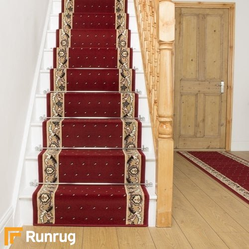 Pin Dot Red Stair Runner