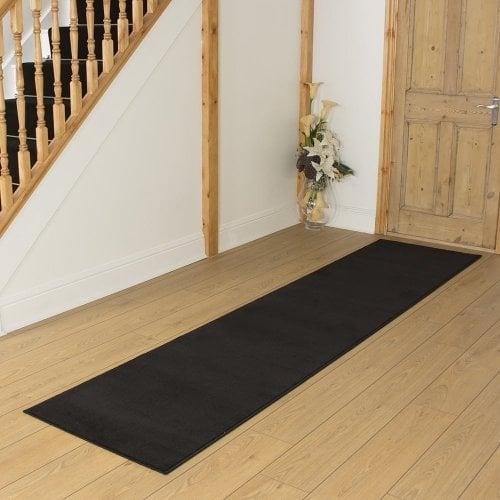 Plain Black Hall Runner