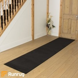 Plain Black Hall Runner