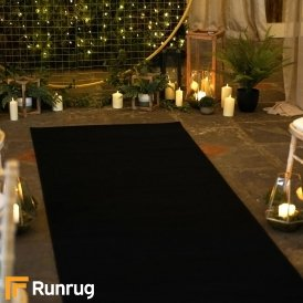 Plain - Black Wedding Aisle Carpet Runner