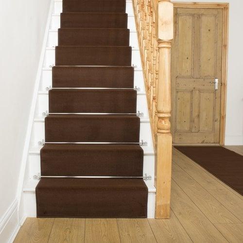 Plain brown stair carpet runner for narrow staircase modern quality