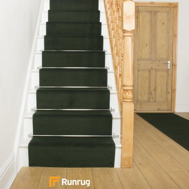 Plain Dark Green Stair Runner