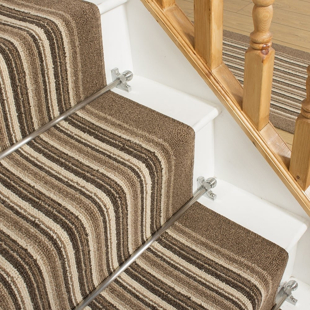 Beige Stripe Stair Carpet Runner Primos