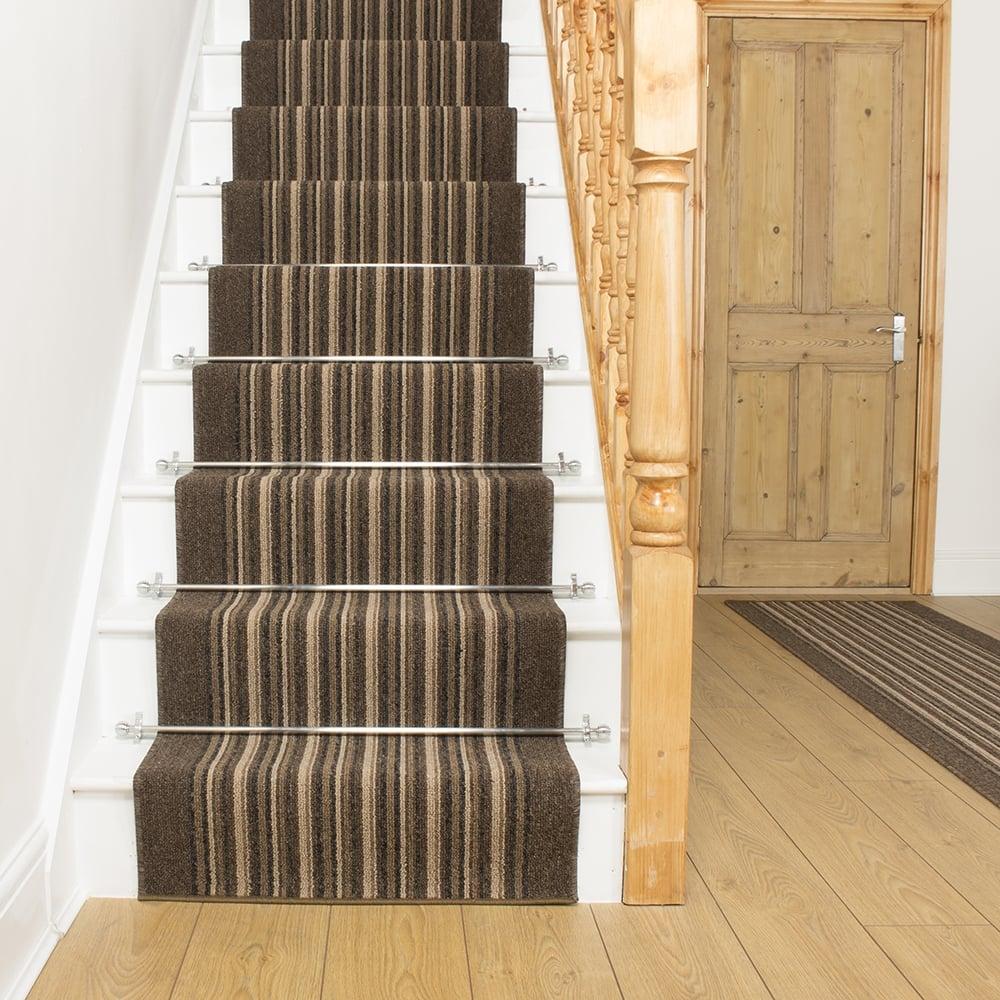 Brown Stripe Stair Carpet Runner Primos
