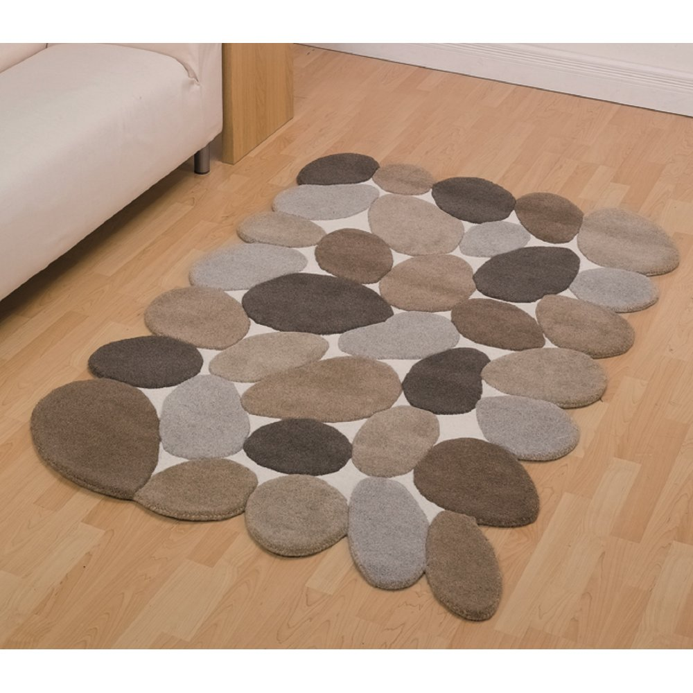 Abstract Pebbles Beige Rug