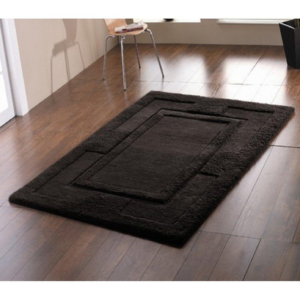 Black Sierra Apollo Wool Rug Carpet Runners Uk
