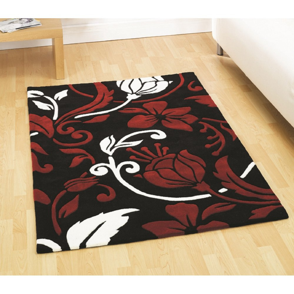 Red cream flowers infinite rug carpet runners uk for Cream and red rugs