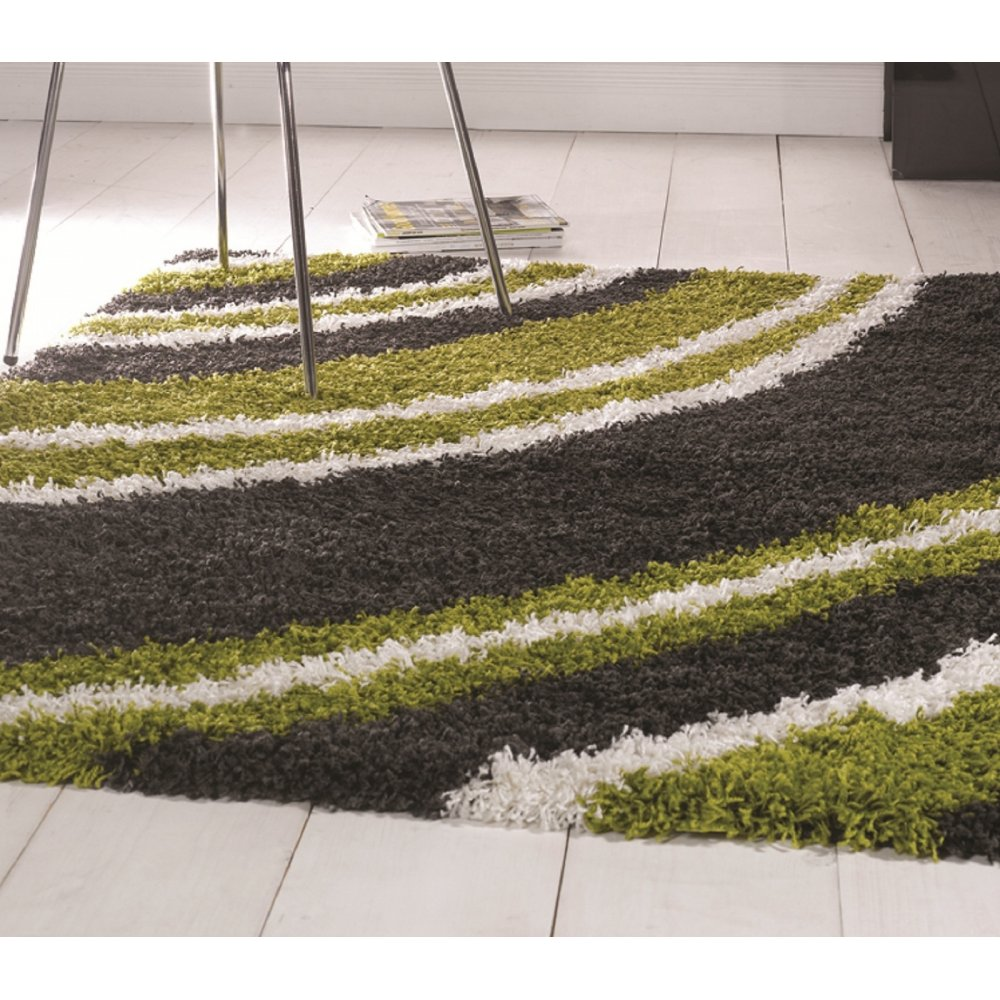 Lime Green Grey Area Rug: Lime Green & Grey Nordic -Crescent Rug