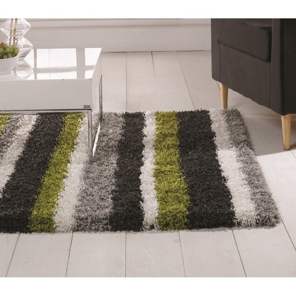 Lime Green & Grey Nordic -Channel Rug