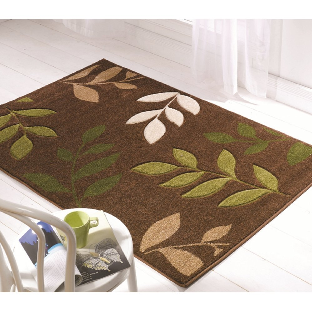 Brown & Green Leaves Orleans Rug
