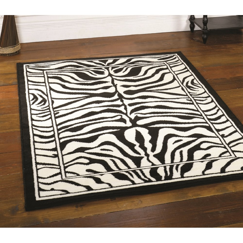 Black white zebra rug carpet runners uk - Black and white rug ...