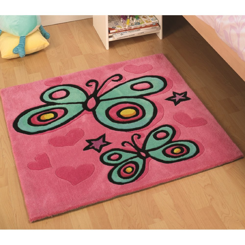 Pink Butterfly Children's Rug