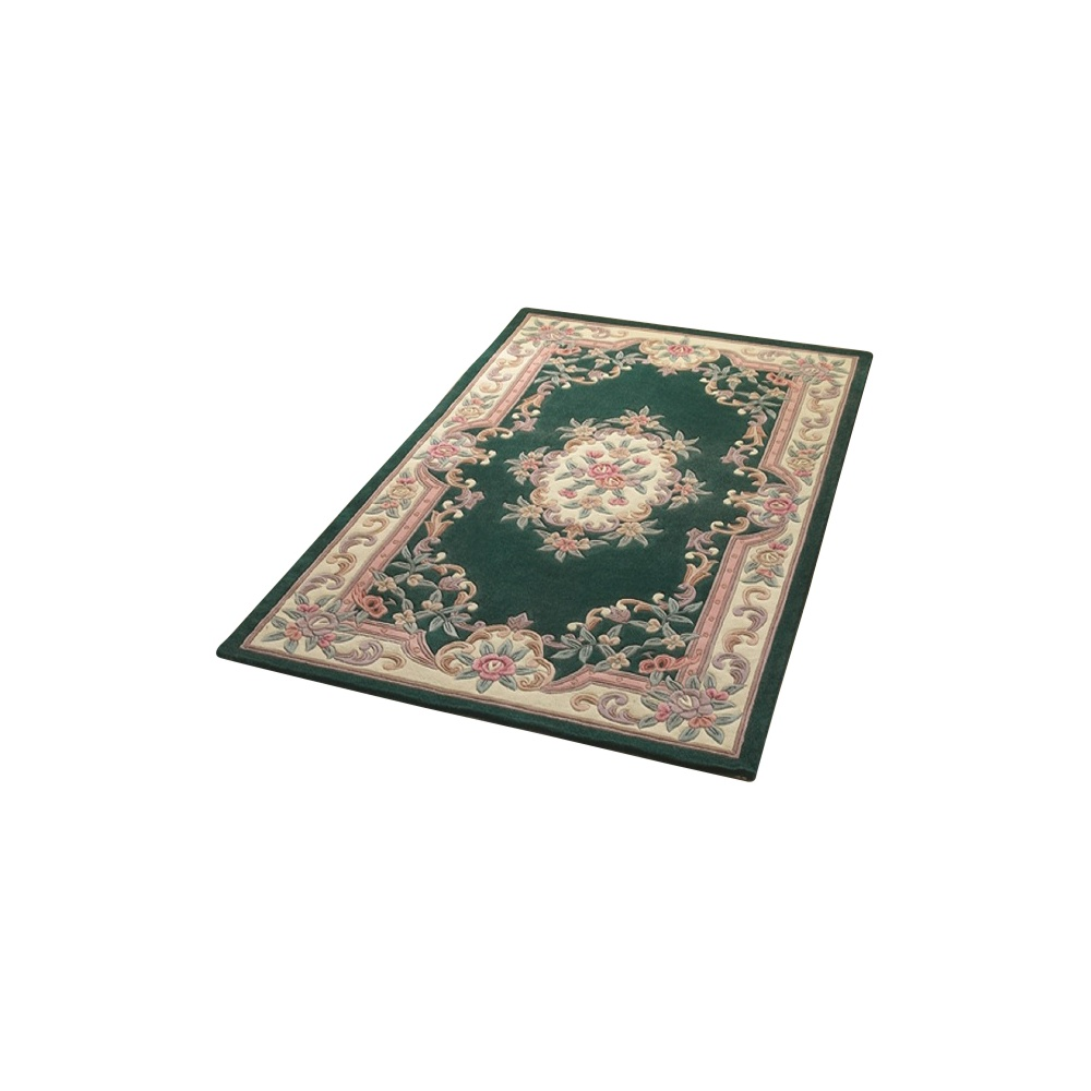 Dark Green Lotus Premium Aubusson Rug Carpet Runners Uk
