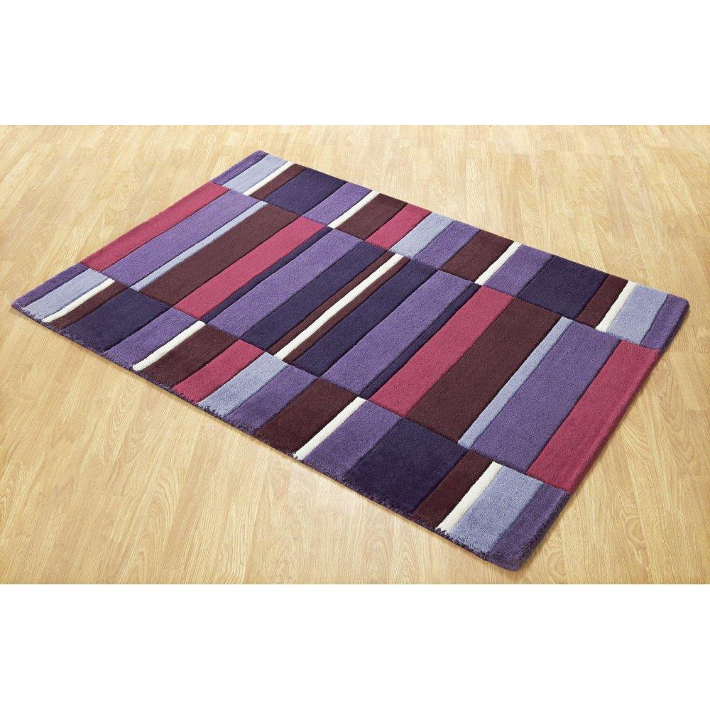 Purple Jazz Blocks Wool Rug Carpet Runners Uk