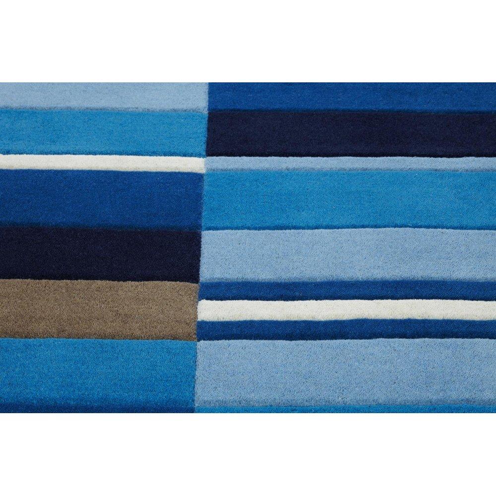 Blue Jazz Blocks Wool Rug Carpet Runners Uk
