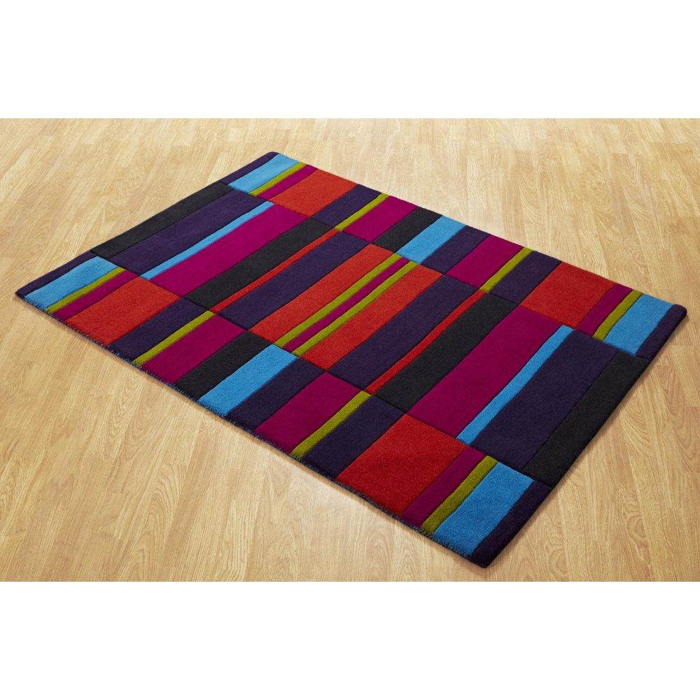 Multi Coloured Jazz Blocks Wool Rug Carpet Runners Uk