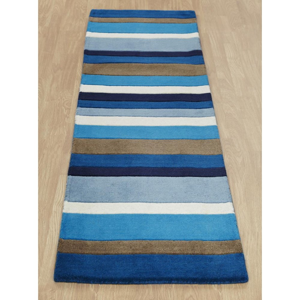 Blue Striped Wool Rug Carpet Runners Uk