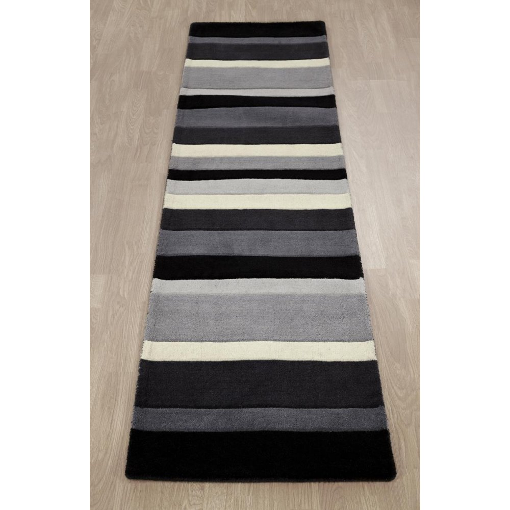 Grey striped wool rug carpet runners uk for Black and white wool rug