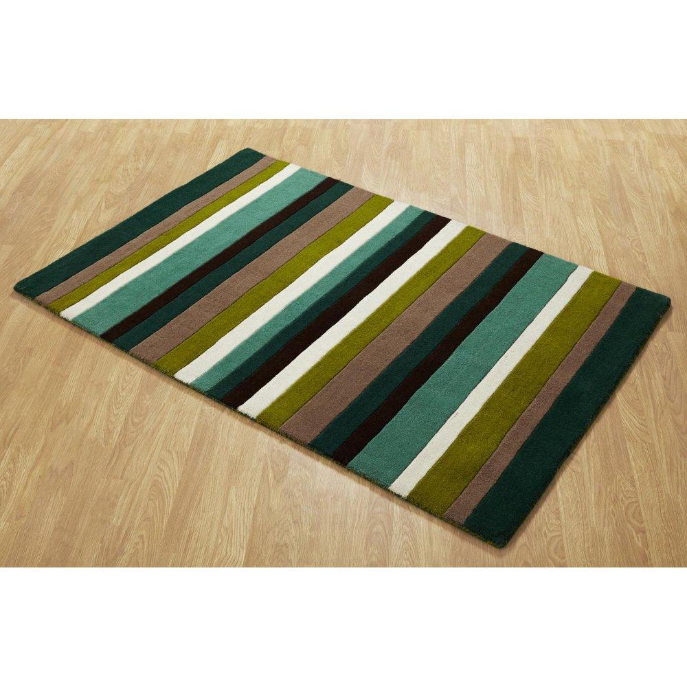 Green Striped Wool Rug Carpet Runners Uk