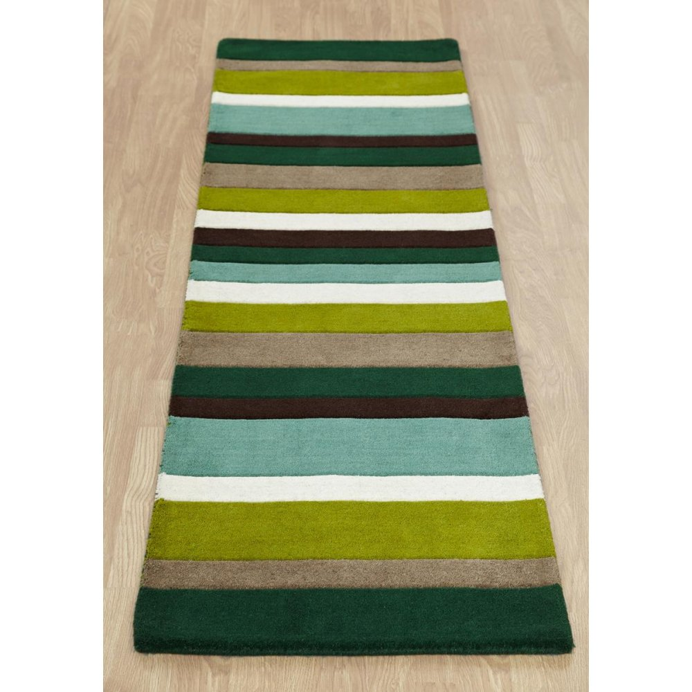 Green Striped Wool Rug