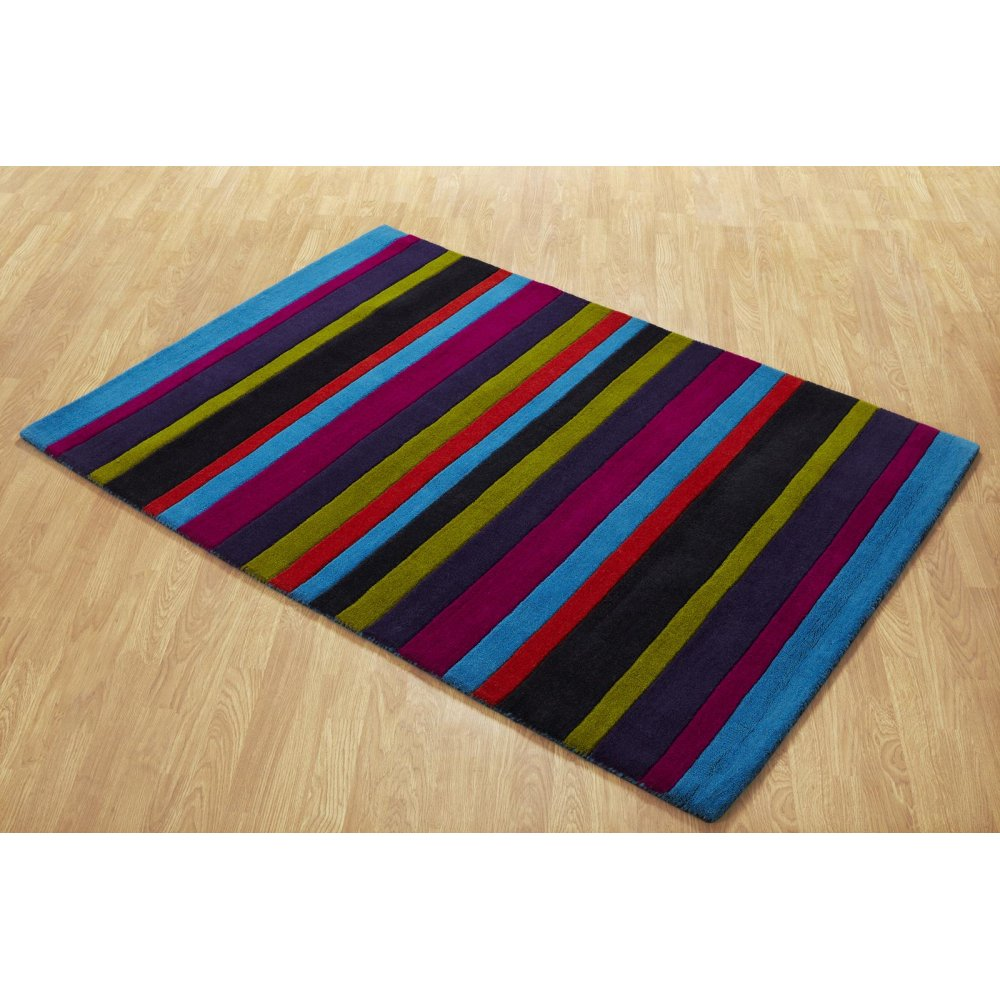 Multi-Coloured Striped Wool Rug