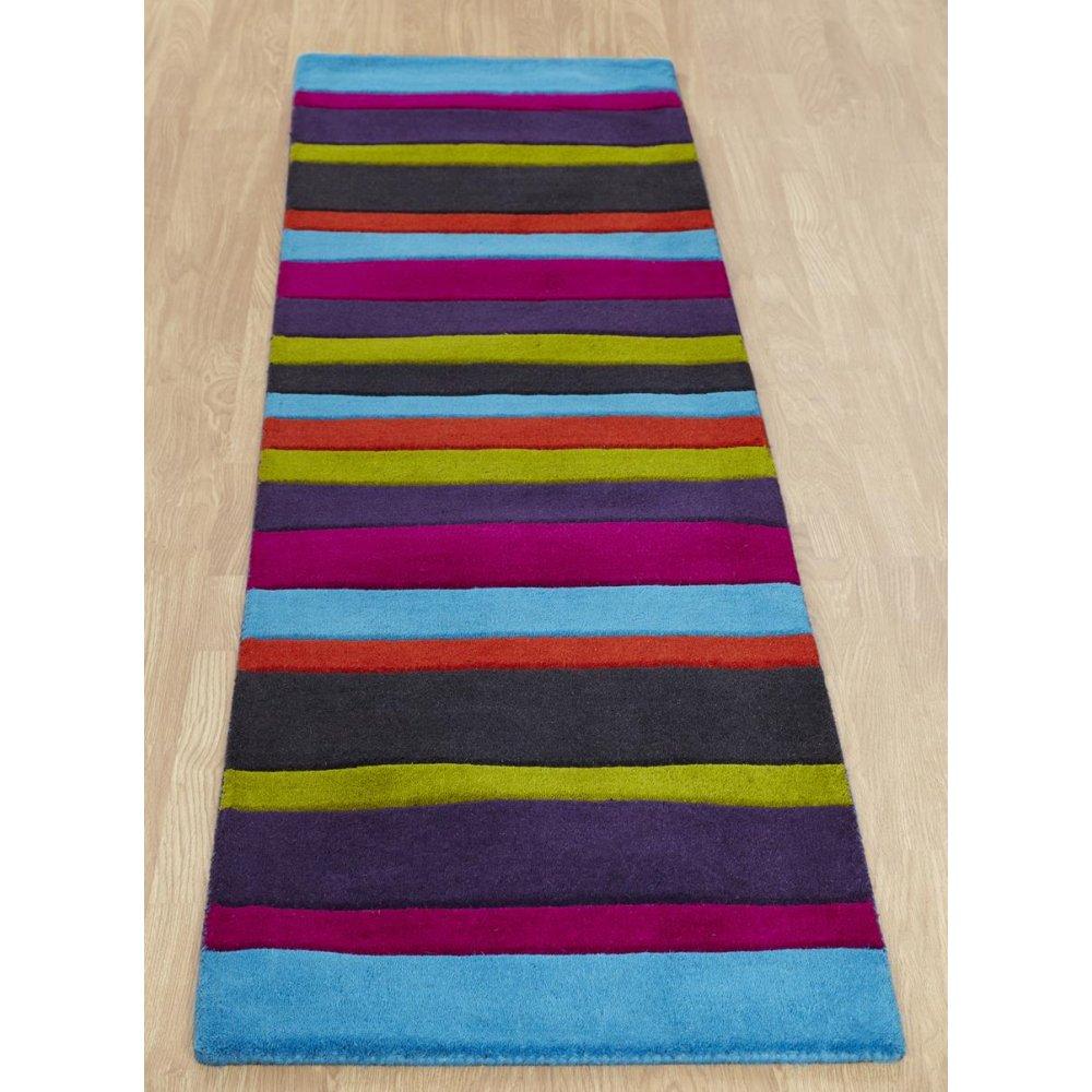 Multi Coloured Striped Wool Rug Carpet Runners Uk