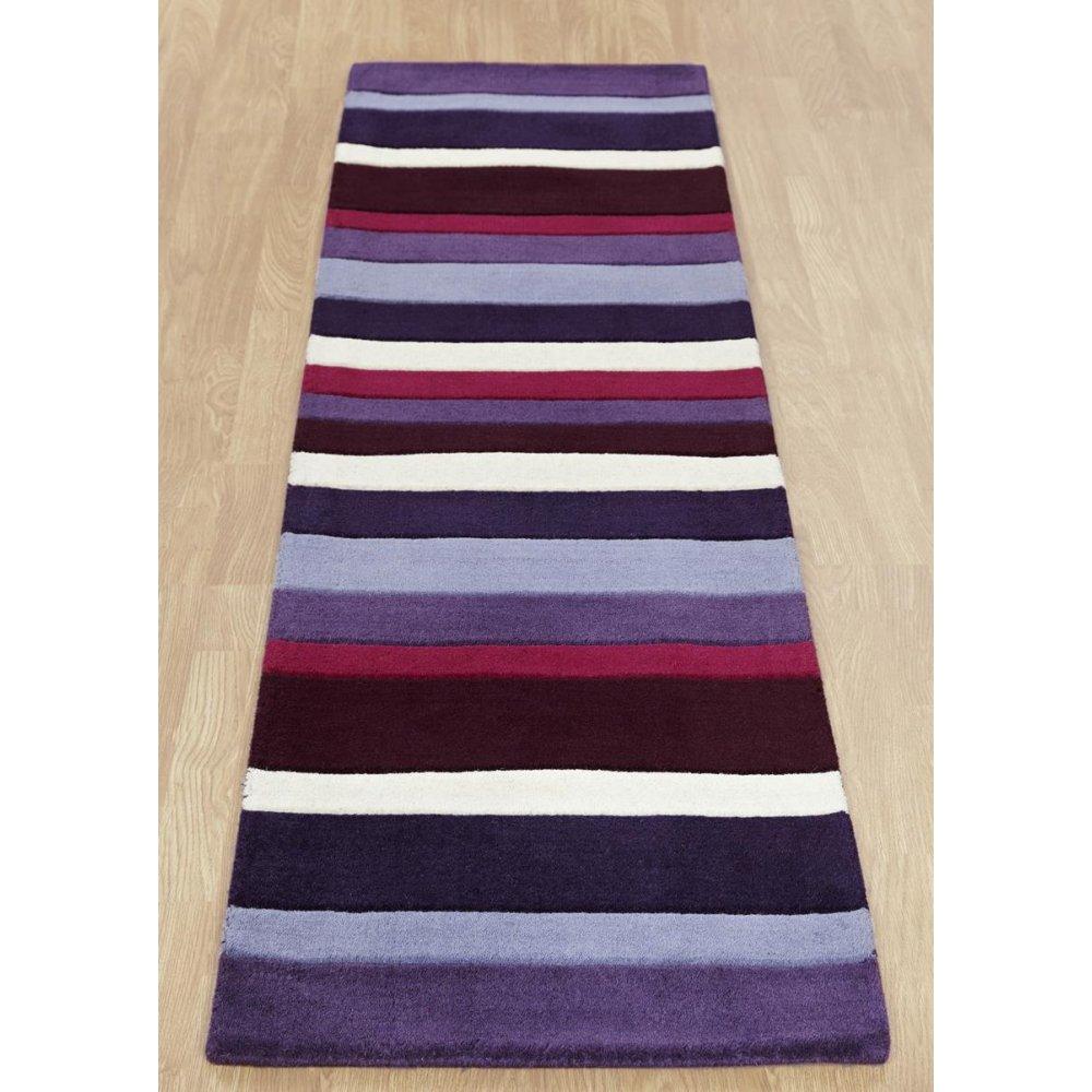 Purple & Black Striped Wool Rug