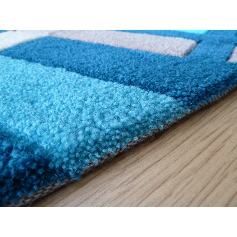 Blue Infinite Funky Plaid Rug