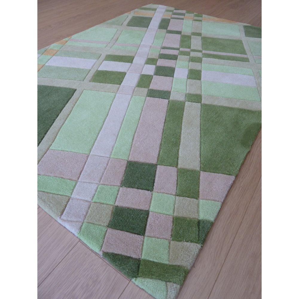 Green Infinite Funky Plaid Rug Carpet Runners Uk