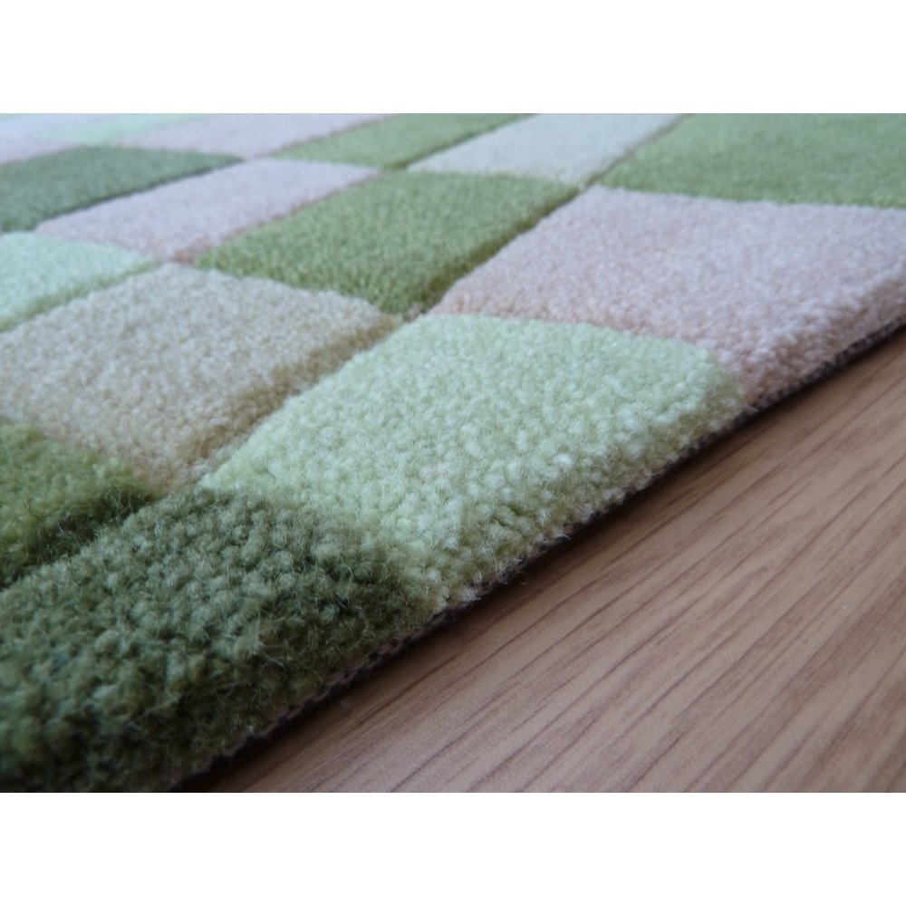 Green Infinite Funky Plaid Rug