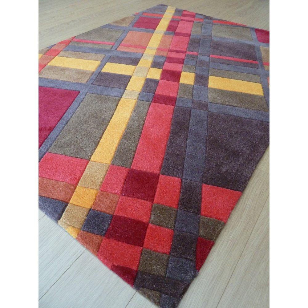 Orange Infinite Funky Plaid Rug Carpet Runners Uk