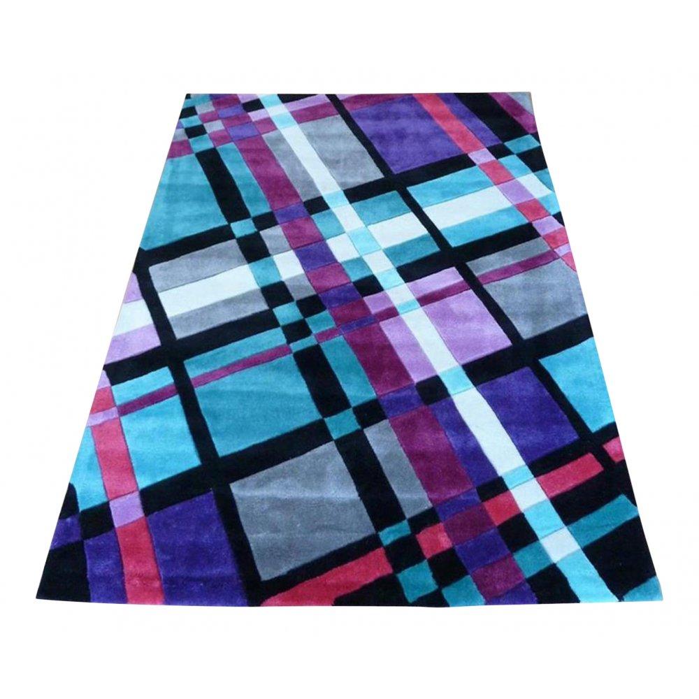 Purple Infinite Funky Plaid Rug