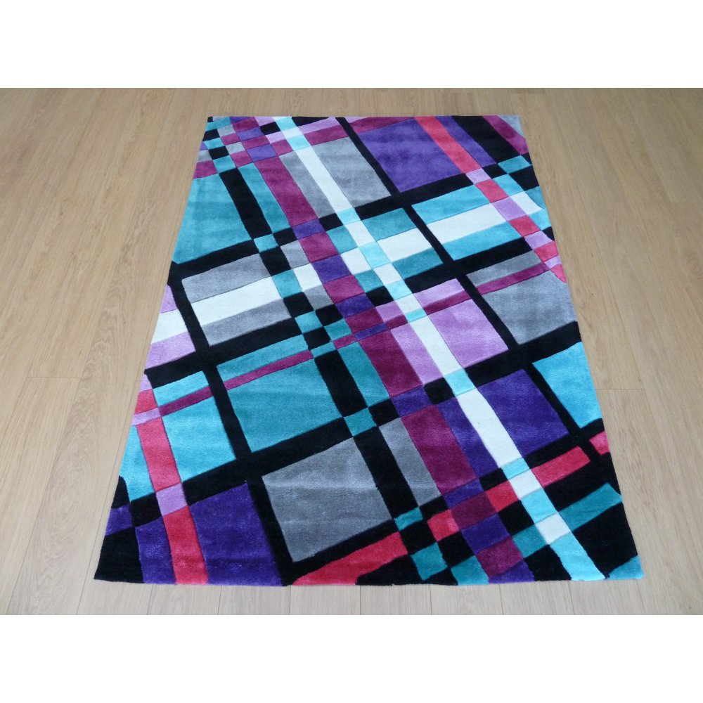Purple Infinite Funky Plaid Rug
