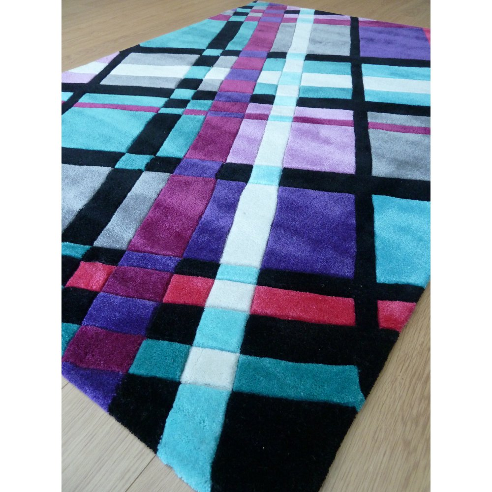 Purple Infinite Funky Plaid Rug Carpet Runners Uk