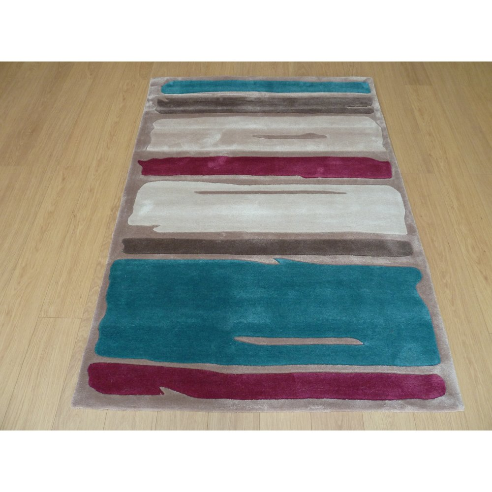 Blue & Purple Modernern Art Paint Strokes Rug