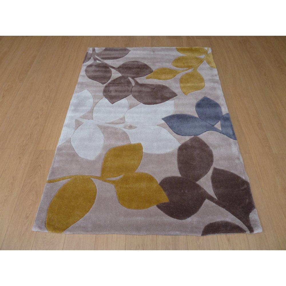 Yellow Amp Grey Stencil Leaves Rug Carpet Runners Uk