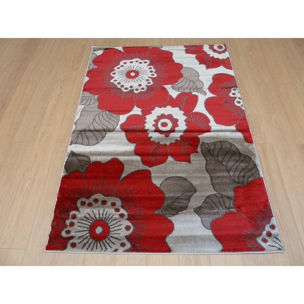 Red Amp Grey Flowers Modern Rug Carpet Runners Uk