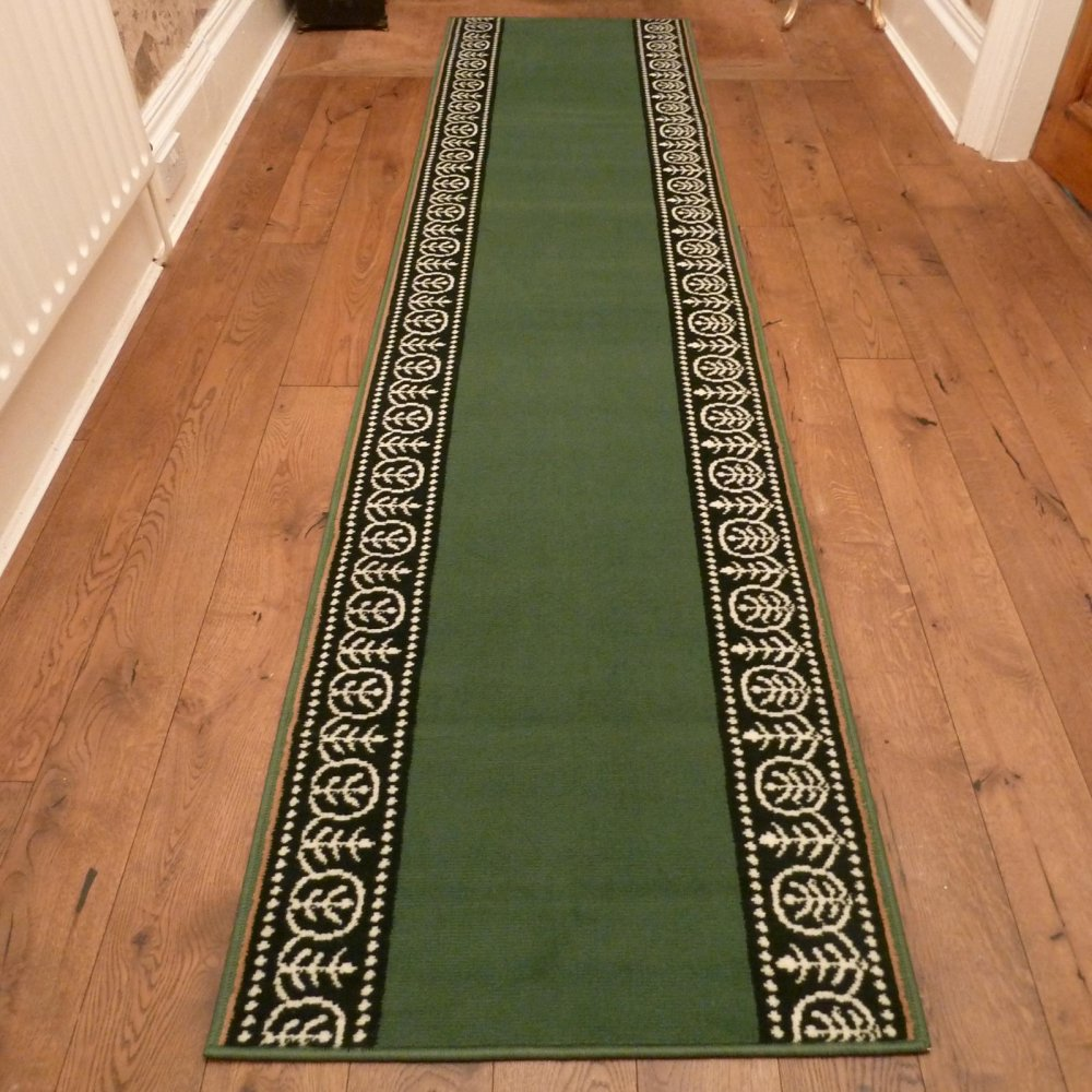 Green Hall Runner Rug Motif Carpet Runners Uk