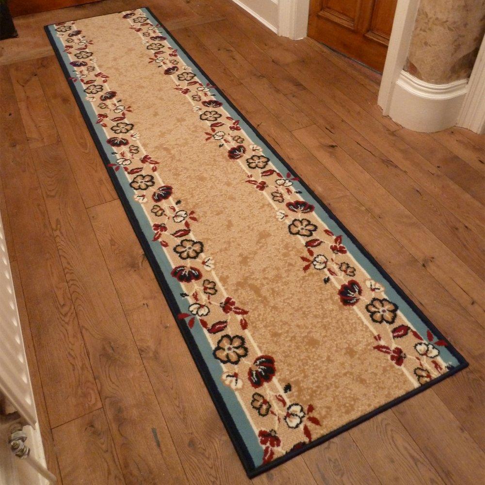 Blue Hallway Carpet Runner Flowers