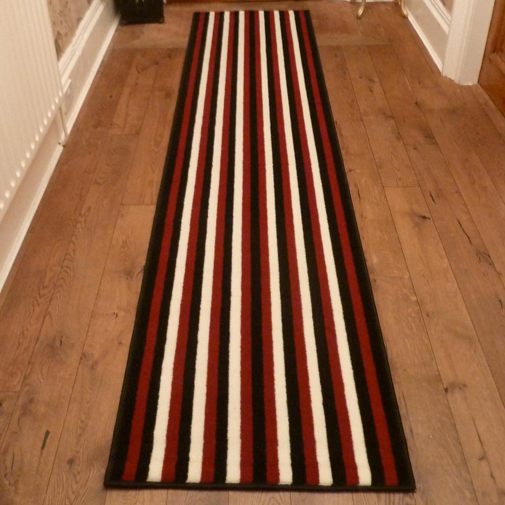 Red Black Amp Cream Hallway Carpet Runner Striped