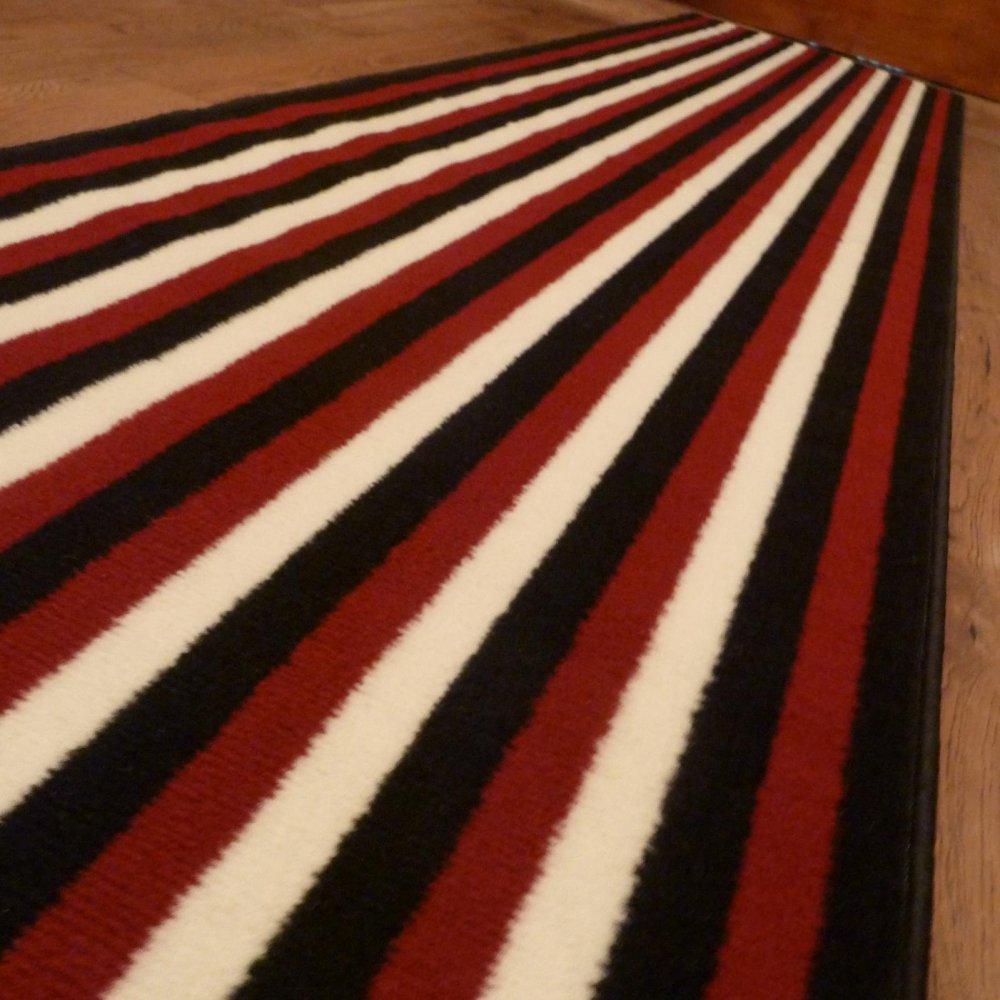 Red Black Amp Cream Hall Runner Rug Striped Carpet