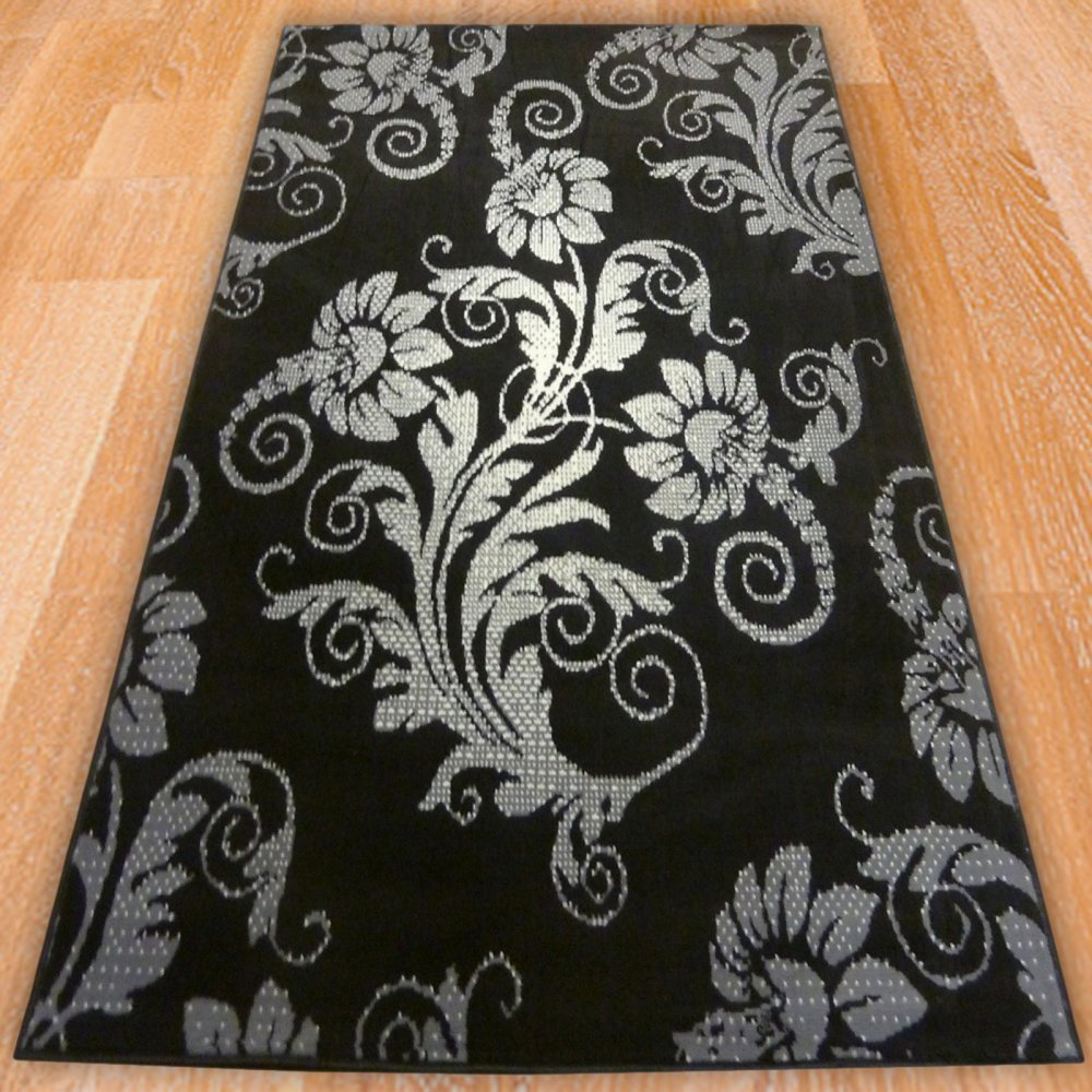 Black Amp Silver Floral Rug Carpet Runners Uk