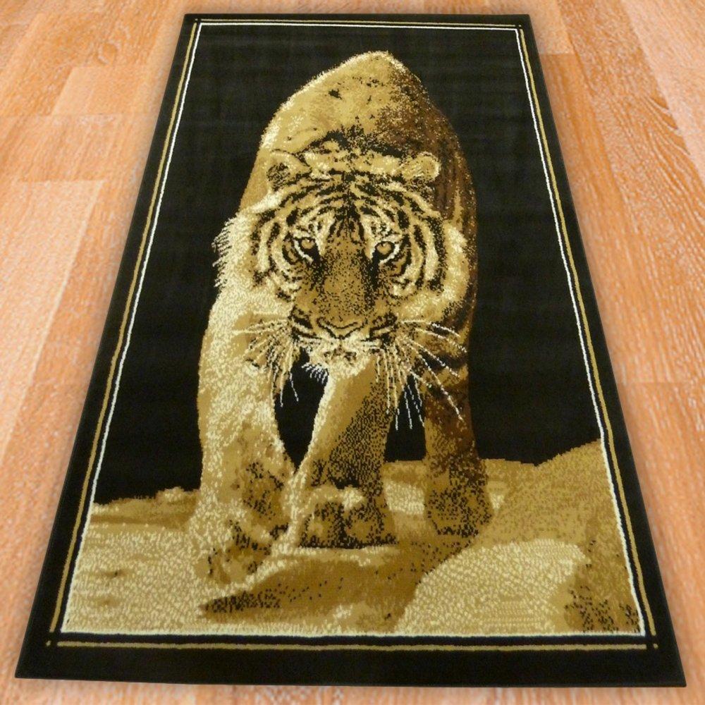 Black Tiger Print Rug