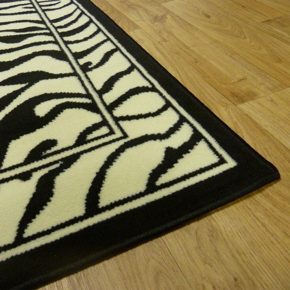 Black & Ivory Zebra Style Rug