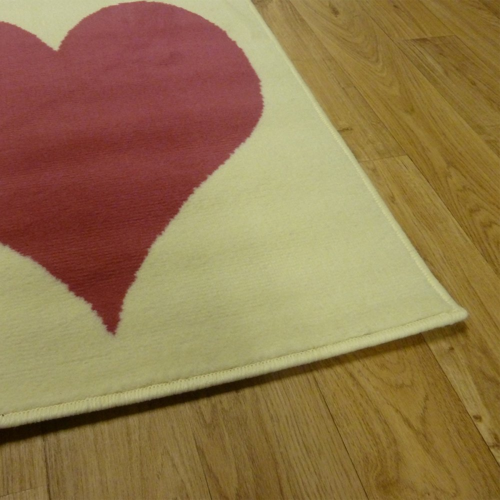 Cream & Red Love Heart Children's Rug