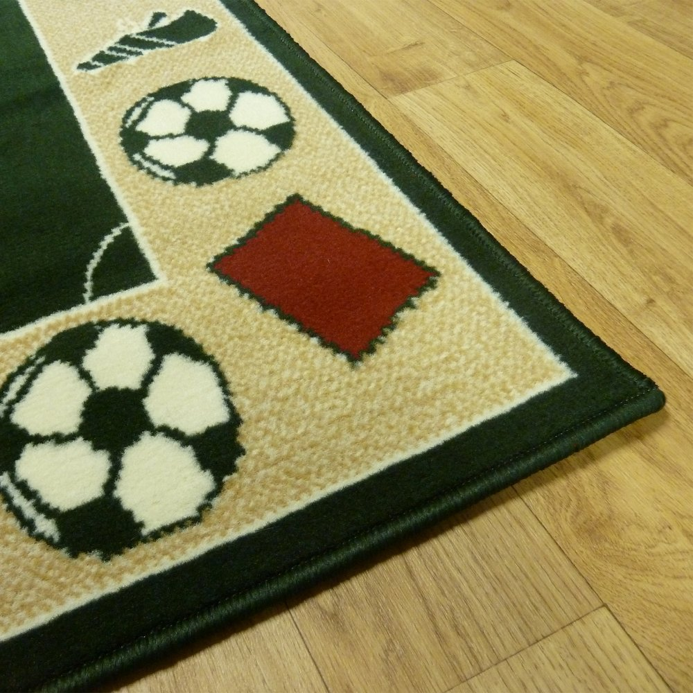 Black Football Pitch Children's Rug
