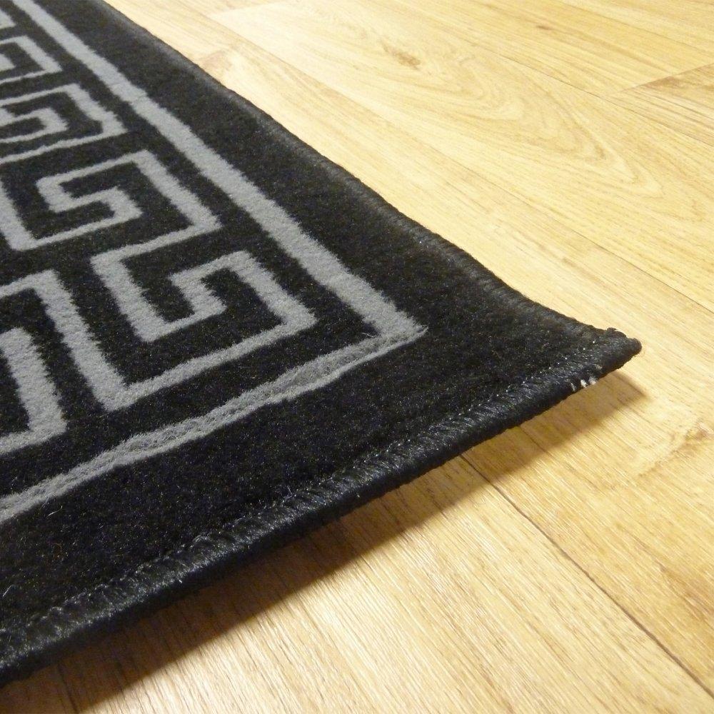 Black Aztec Border Rug Carpet Runners Uk