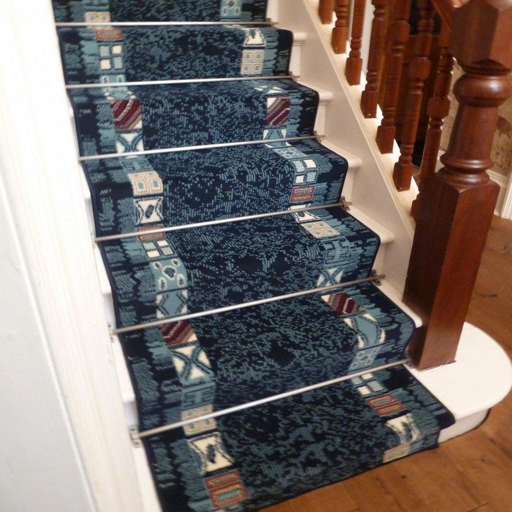 Blue Stair Carpet Runner Block Carpet Runners Uk