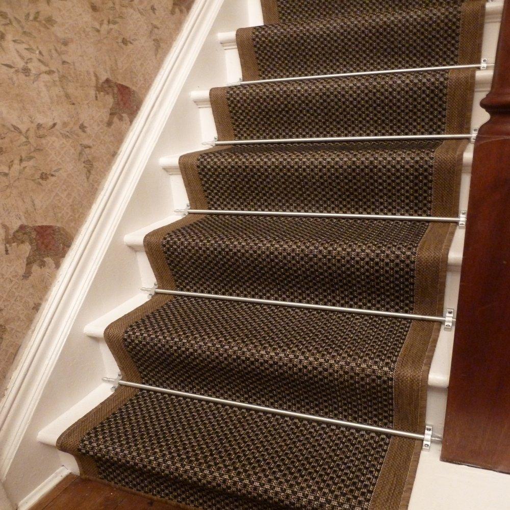 Brown Stair Runner Rug Gingham