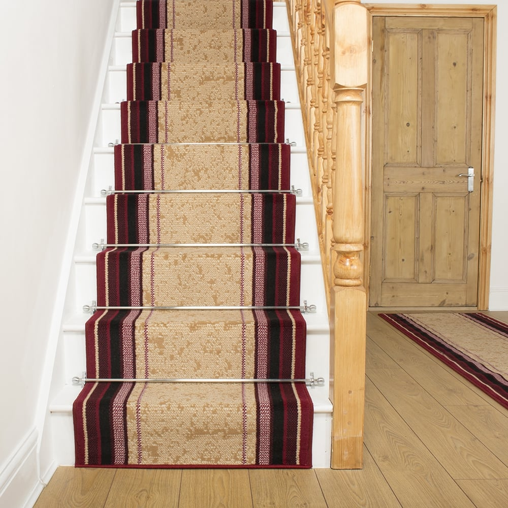 Red Stair Carpet Runner Striped